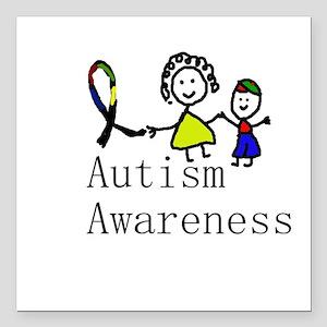 "Autism Awareness Friends Square Car Magnet 3"" x 3"""