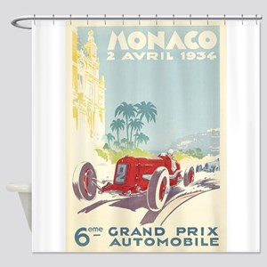Monaco Grand Prix Vintage Poster Shower Curtain