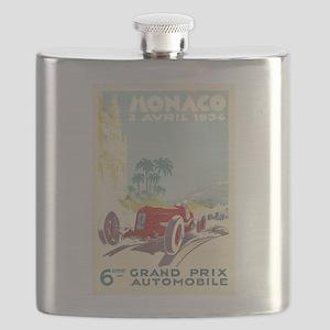 Monaco, Grand Prix, Vintage Poster Flask