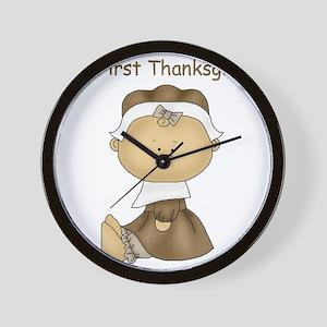 My First Thanksgiving - Girl Wall Clock