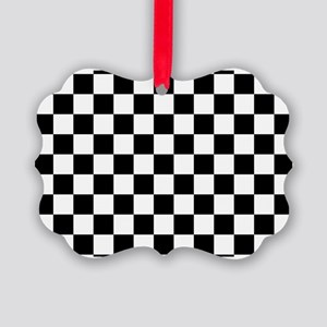 BLACK AND WHITE Checkered Pattern Ornament