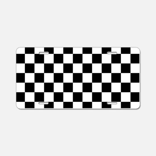 BLACK AND WHITE Checkered Pattern Aluminum License