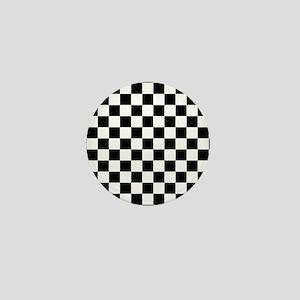 abf40e1363c4af BLACK AND WHITE Checkered Pattern Mini Button