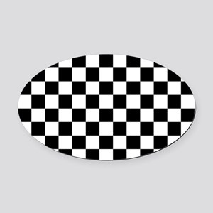 BLACK AND WHITE Checkered Pattern Oval Car Magnet