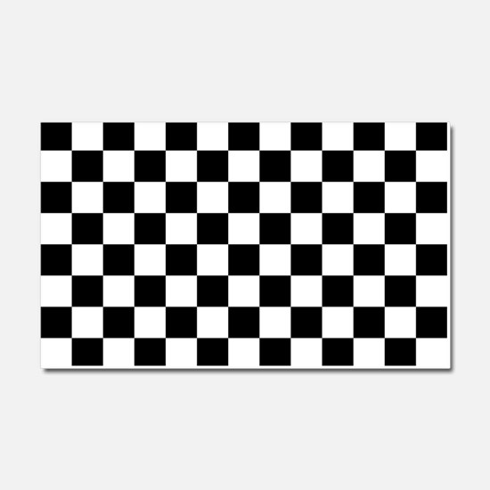 BLACK AND WHITE Checkered Pattern Car Magnet 20 x