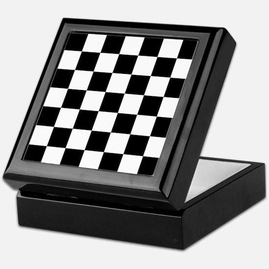 BLACK AND WHITE Checkered Pattern Keepsake Box
