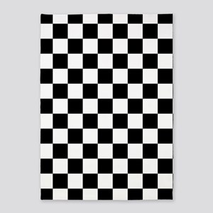 Black And White Checkered Pattern 5 X7 Area Rug