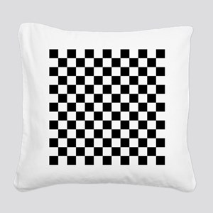BLACK AND WHITE Checkered Pattern Square Canvas Pi