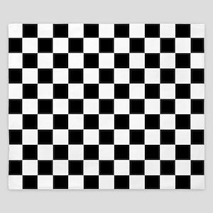 BLACK AND WHITE Checkered Pattern King Duvet