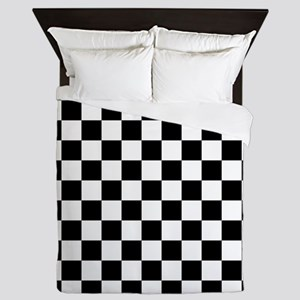 BLACK AND WHITE Checkered Pattern Queen Duvet