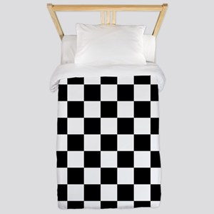 BLACK AND WHITE Checkered Pattern Twin Duvet