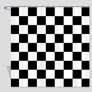 BLACK AND WHITE Checkered Pattern Shower Curtain