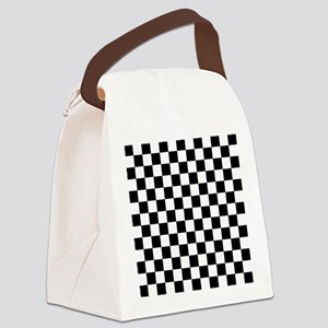 BLACK AND WHITE Checkered Pattern Canvas Lunch Bag