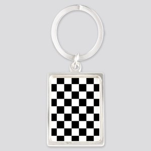 BLACK AND WHITE Checkered Pattern Keychains