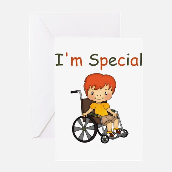 I'm Special - Wheelchair - Boy Greeting Cards