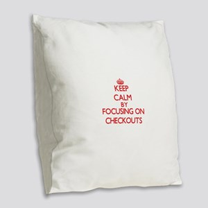 Checkouts Burlap Throw Pillow