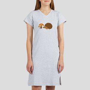 Hedgehog with Mushrooms Women's Nightshirt