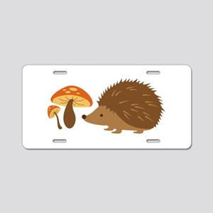 Hedgehog with Mushrooms Aluminum License Plate