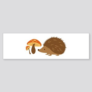 Hedgehog with Mushrooms Bumper Sticker