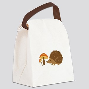 Hedgehog with Mushrooms Canvas Lunch Bag