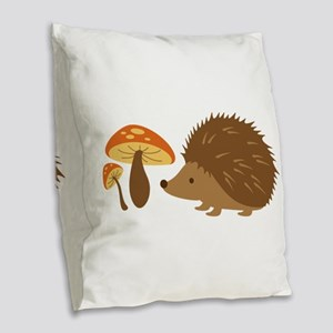 Hedgehog with Mushrooms Burlap Throw Pillow