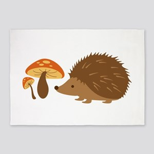 Hedgehog with Mushrooms 5'x7'Area Rug