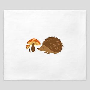 Hedgehog with Mushrooms King Duvet