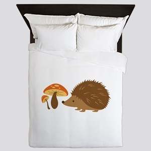 Hedgehog with Mushrooms Queen Duvet
