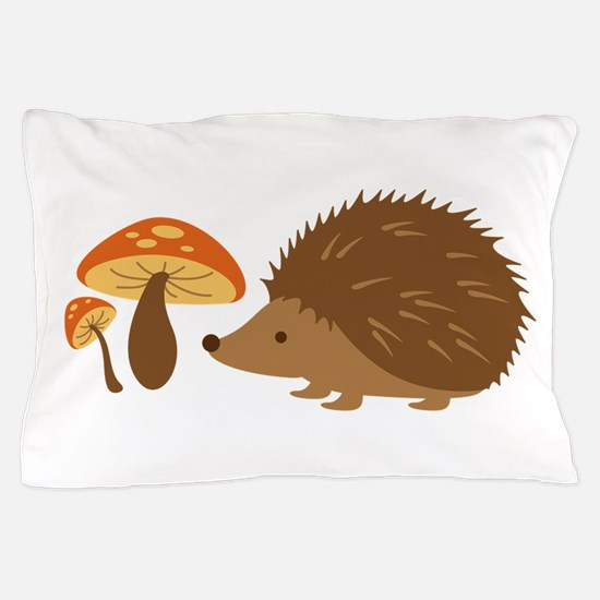 Hedgehog with Mushrooms Pillow Case