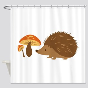 Hedgehog with Mushrooms Shower Curtain