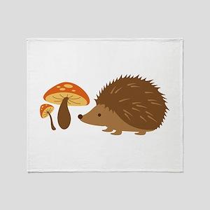 Hedgehog with Mushrooms Throw Blanket