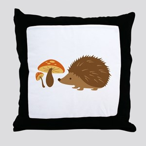 Hedgehog with Mushrooms Throw Pillow