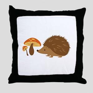 Hedgehog with Mushrooms Throw Pillow