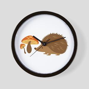 Hedgehog with Mushrooms Wall Clock