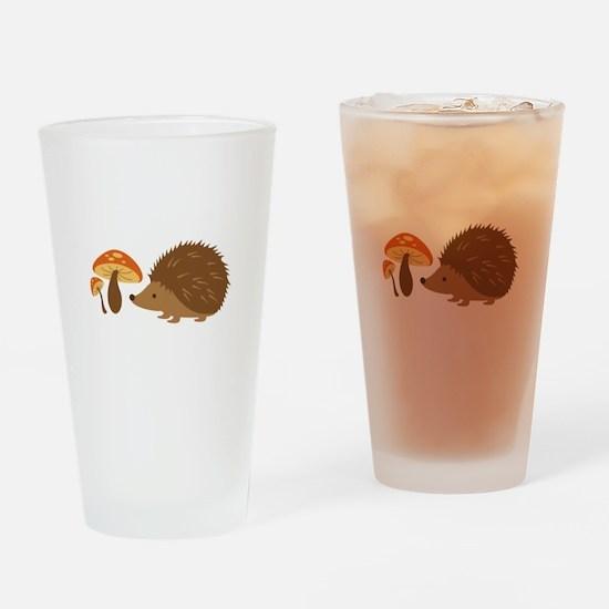 Hedgehog with Mushrooms Drinking Glass