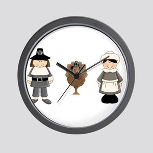 Thanksgiving - Pilgrim and Turkey Wall Clock