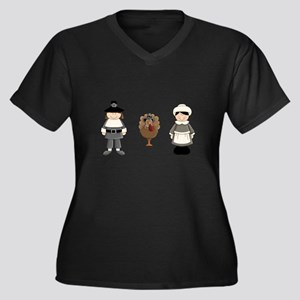 Thanksgiving - Pilgrim and Turkey Plus Size T-Shir