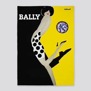 Bally Vintage Fashion Poster 5'x7'area Rug