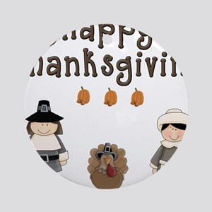 Happy Thanksgiving Pilgrims and Turkey Ornament (R