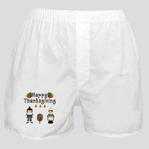 Happy Thanksgiving Pilgrims and Turkey Boxer Short