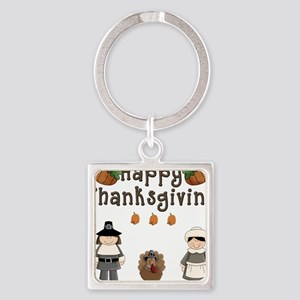 Happy Thanksgiving Pilgrims and Turkey Keychains