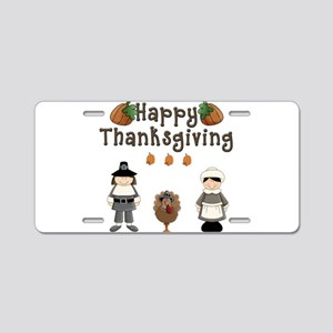 Happy Thanksgiving Pilgrims and Turkey Aluminum Li