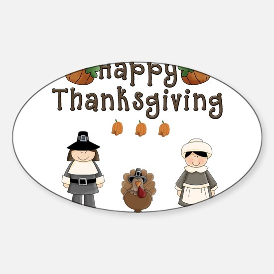 Happy Thanksgiving Pilgrims and Turkey Decal