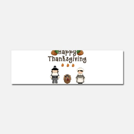 Happy Thanksgiving Pilgrims and Turkey Car Magnet