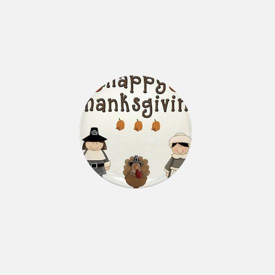 Happy Thanksgiving Pilgrims and Turkey Mini Button