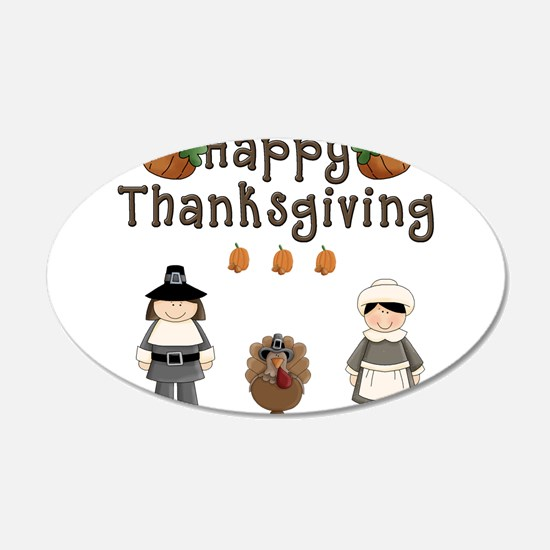 Happy Thanksgiving Pilgrims and Turkey Wall Decal