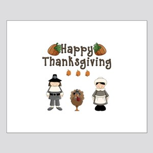 Happy Thanksgiving Pilgrims and Turkey Posters