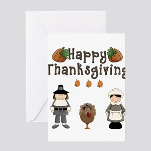 Happy Thanksgiving Pilgrims and Turkey Greeting Ca