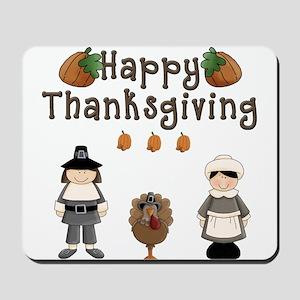 Happy Thanksgiving Pilgrims and Turkey Mousepad