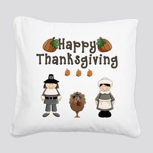 Happy Thanksgiving Pilgrims and Turkey Square Canv